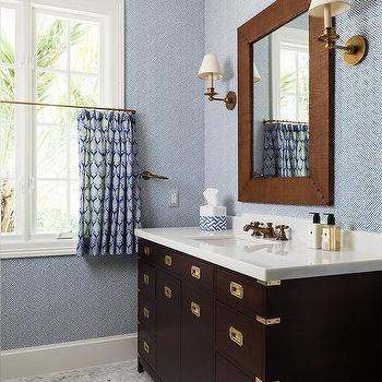 Charmant Brown And Blue Kids Bathroom With Brown Campaign Washstand
