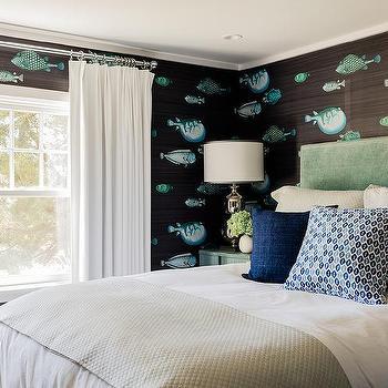 sea themed bedroom. Cottage Bedroom with Fornasetti Acquario Deep Sea Blu Wallpaper Beach Themed Design Ideas