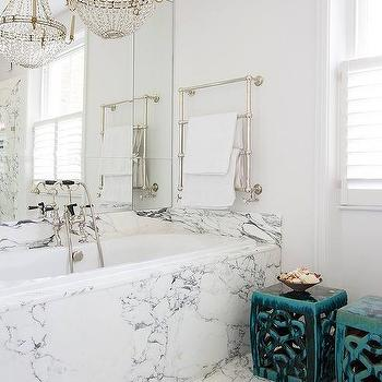 White And Gray Bathroom With Paris Flea Market Chandelier