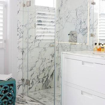 White And Gray Marble Bathroom Floor Tiles Continue Into Shower