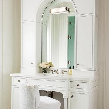 White Bath Vanity with Arched Mirror and White Terry Cloth Vanity Chair with Lucite Legs & Lucite Vanity Chair Design Ideas islam-shia.org