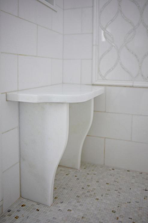 White shower with marble water jet tiles and small shower for Small bathroom bench