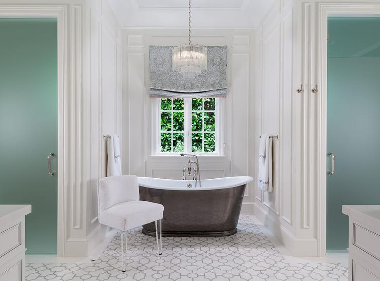 Bathroom Tub Chandeliers crystal tiered chandelier over oval bathtub - transitional - bathroom