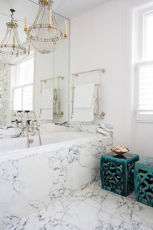 Marble Clad Bathtub With Paris Flea Market Chandelier