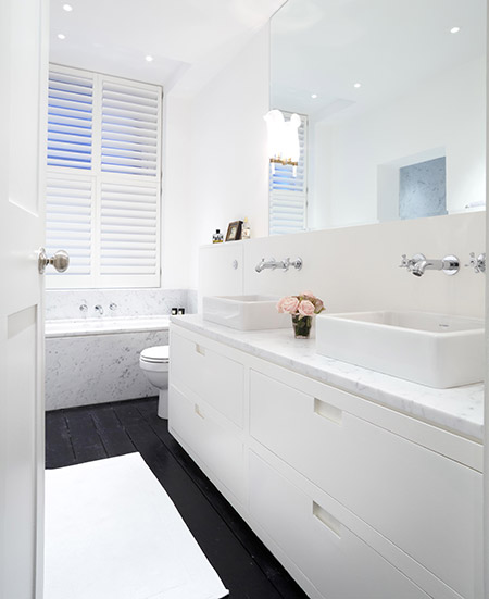 White Bathroom With Rectangular Vessel Sinks And Black Floors Transitional