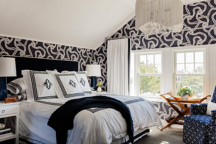 White And Black Bedroom With Cole And Son Rope Wallpaper