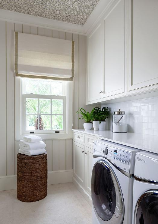 White Laundry Room With Wallpaper On Ceiling Transitional
