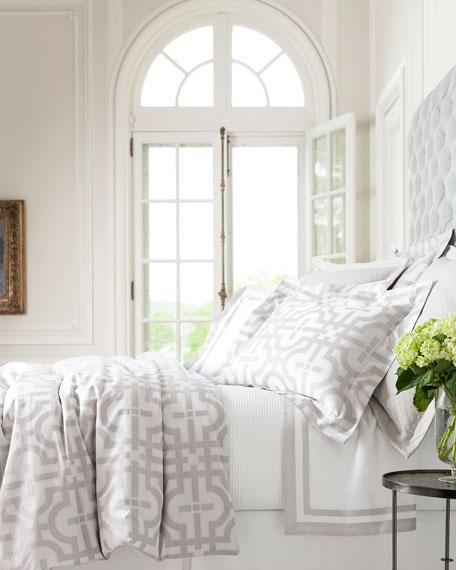 grey and white greek design bedding. Black Bedroom Furniture Sets. Home Design Ideas