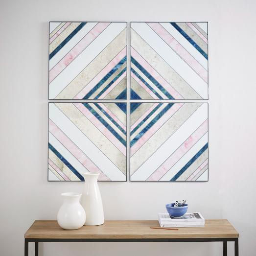 Pink and Blue Diagonal Lines Glass Wall Art