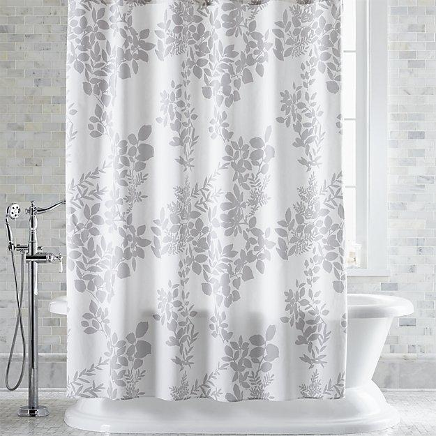 botanical silhouette print gray shower curtain. Black Bedroom Furniture Sets. Home Design Ideas