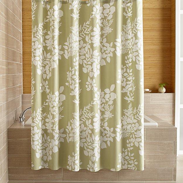 Botanical Silhouette Print Green Shower Curtain