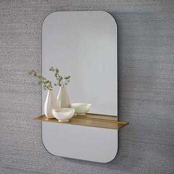 Black Metal Wall Mirror With Shelf