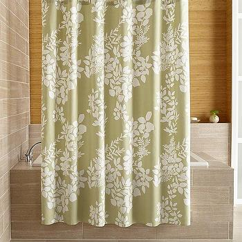 Botanical Silhouette Print Gray Shower Curtain