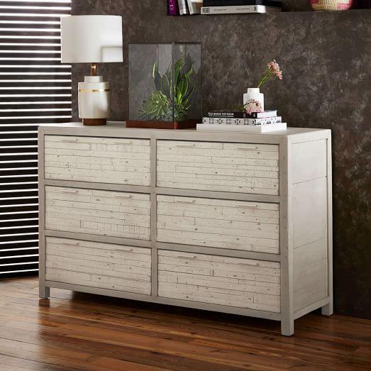 white washed wood dresser Whitewashed Reclaimed Wood 6 Drawer Dresser white washed wood dresser