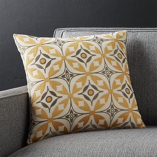 Yellow And Gray Scandinavian Patterned Pillow