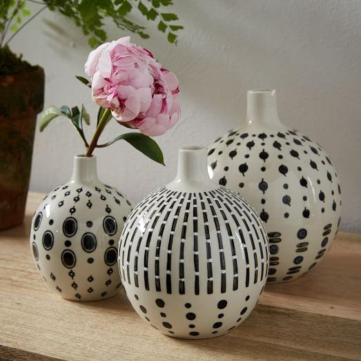 Black And White Gourd Bud Vases