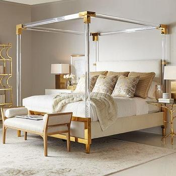 brass accents lucite bed