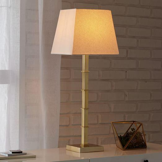 Tall Slim Polished Brass Table Lamp