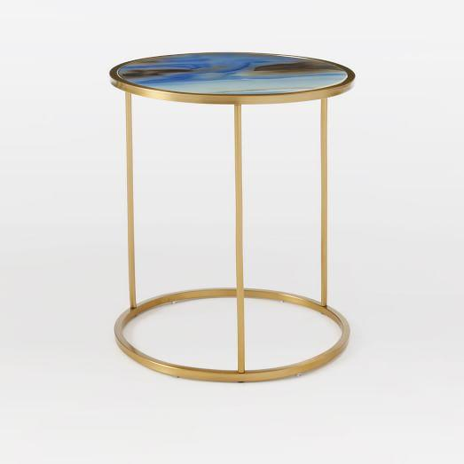 Blue Glass Round Side Table