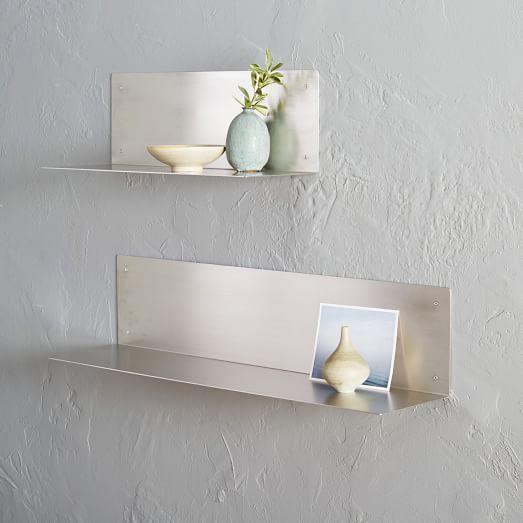 L Shape Silver Stainless Steel Shelf