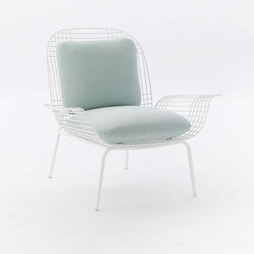 mid century woven steel lounge chair