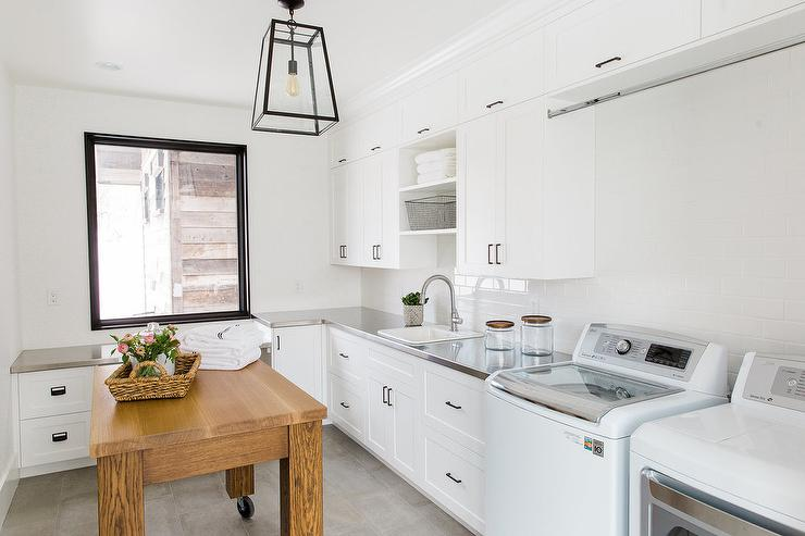 Rolling Laundry Room Island Transitional Kitchen
