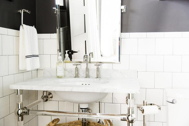 black and white bathroom with marble and glass washstand. Black Bedroom Furniture Sets. Home Design Ideas