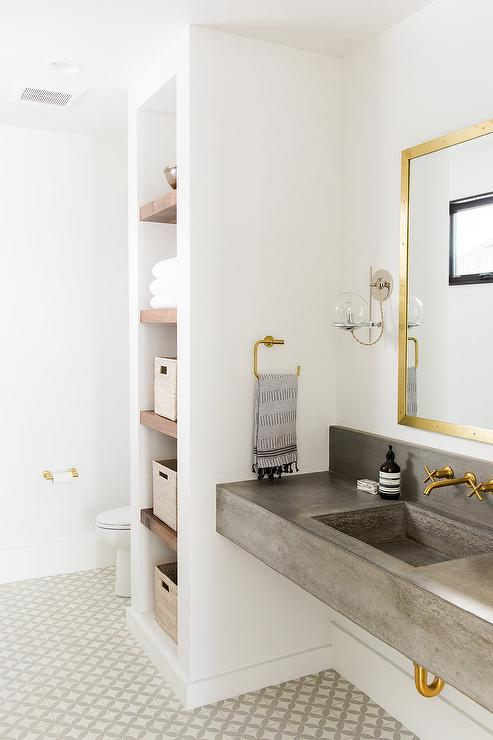 Gray And Gold Bathroom With Encaustic Cement Tile Circulos Grey II