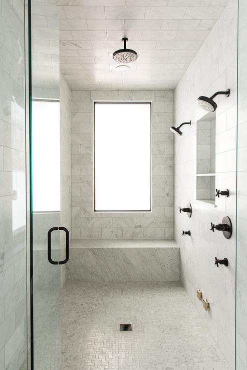 Gray And Gold Shower Design With Carrera Marble Tiles Transitional - Carrara marble tile sizes