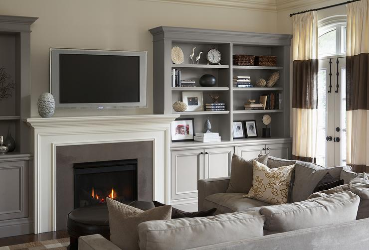 Living Room Ideas With Sectionals And Fireplace off white linen sectional sofa with gray pillows - transitional