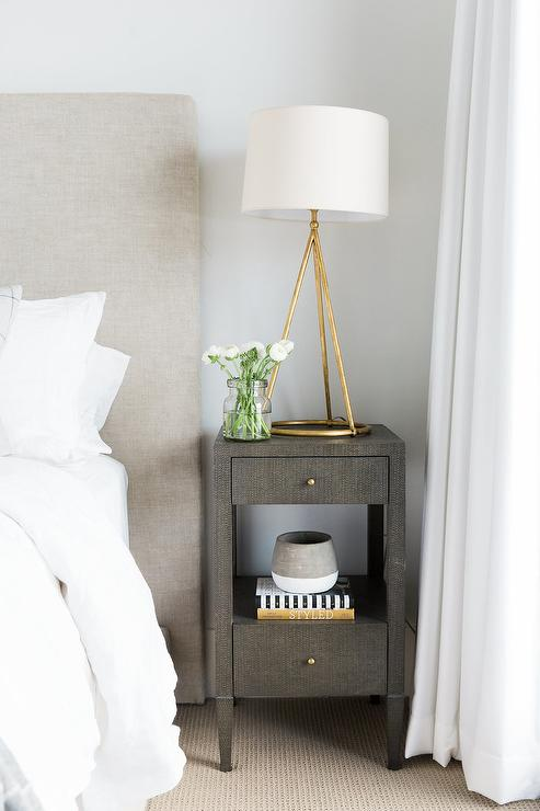 Gray and Gold Bedroom with Gray Open Nightstand Transitional