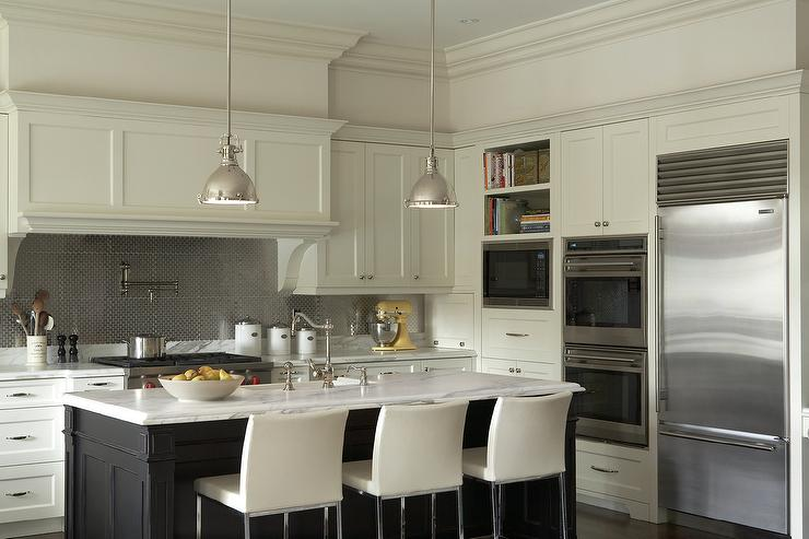 Ivory And Black Kitchen Cabinets With Stainless Steel Hex Tile