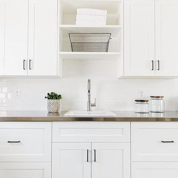 Over The Sink Laundry Room Shelves With Gooseneck Faucet