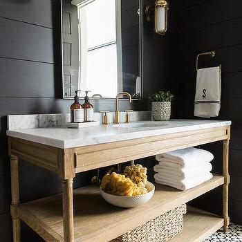 Masculine Bathroom With Black Hex Floor Tiles