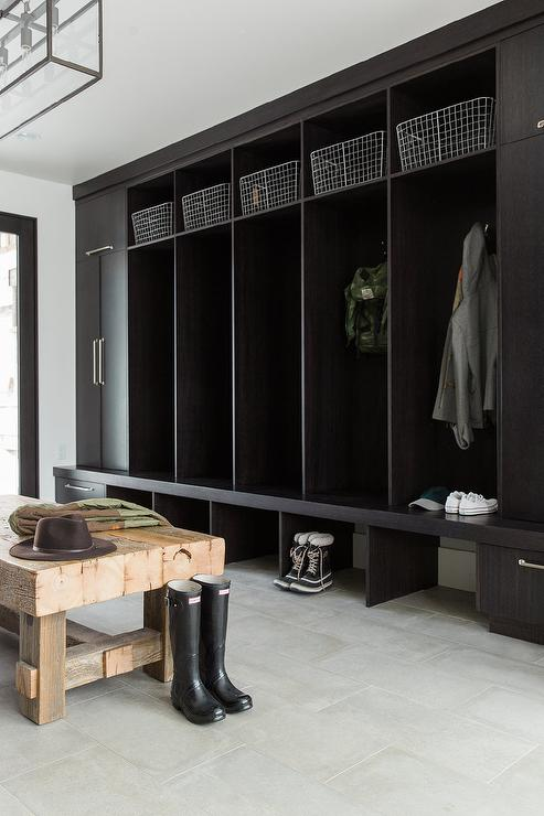 Dark Brown Open Mudroom Lockers With Gray Porcelain Tile