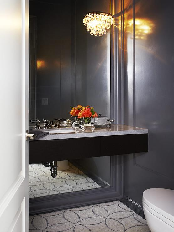 Black Floating Vanity on Full Length Mirror - Contemporary - Bathroom