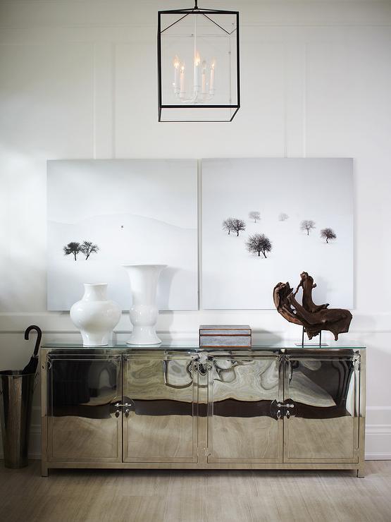 Mirrored Credenza Contemporary Entrance Foyer Behr