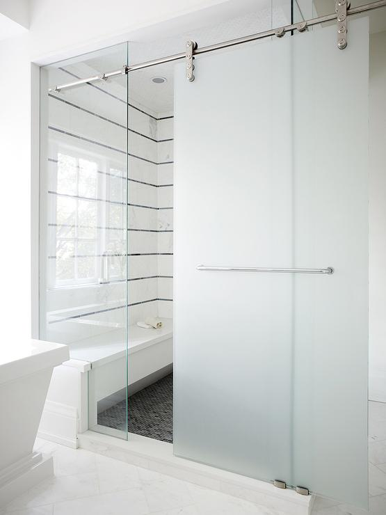 Frosted Glass Sliding Shower Door On Rails