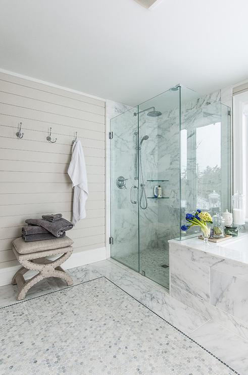 Superieur Marble Master Bathroom With Gray Shiplap Accent Wall