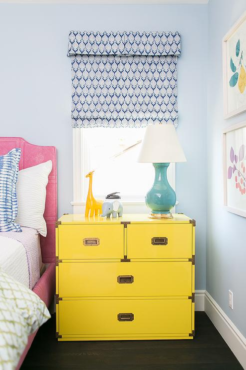 Pink Kids Bed with Yellow Campaign Nightstand
