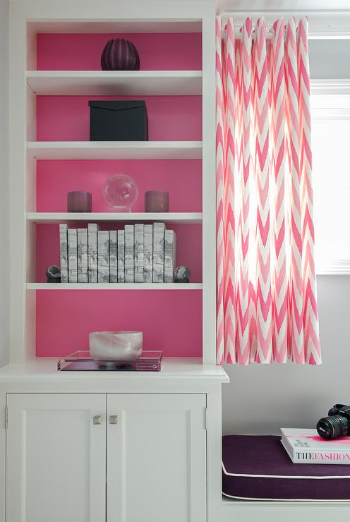 Pink and Purple Girls Bedroom with Pink Chevron Window Seat Curtains ...