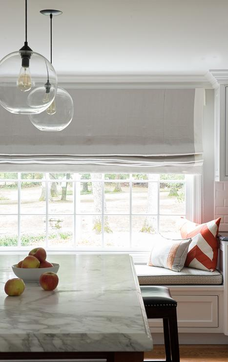 Kitchen Window Seat With Gray Striped Roman Shades