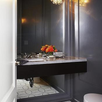 gray framed powder room mirror design ideas
