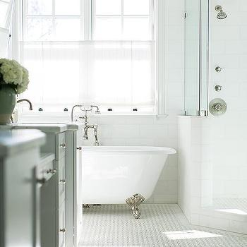 showering in a clawfoot tub. Silver Claw Foot Bathtub Next To Corner Shower Tub Design Ideas