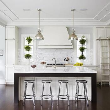Charming White And Gray Kitchen With White Ladder On Rails