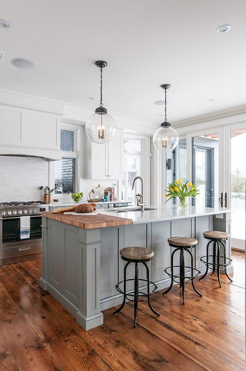 Kitchen Island With Countertop : ... Island with Backless Seagrass Counter Stools - Transitional - Kitchen