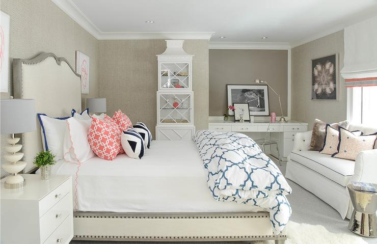 White and Gray bedroom with Desk Nook and Global Views ...