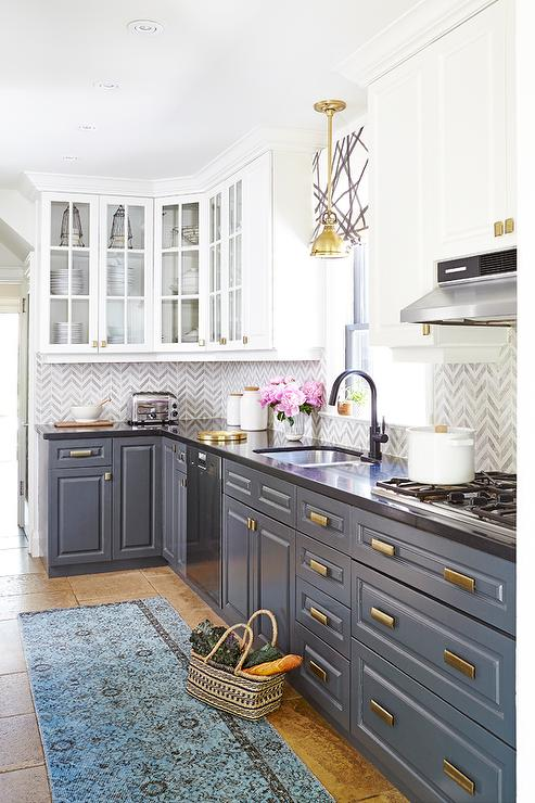 Interior Lower Cabinets white upper cabinets and gray lower with brass hardware hardware