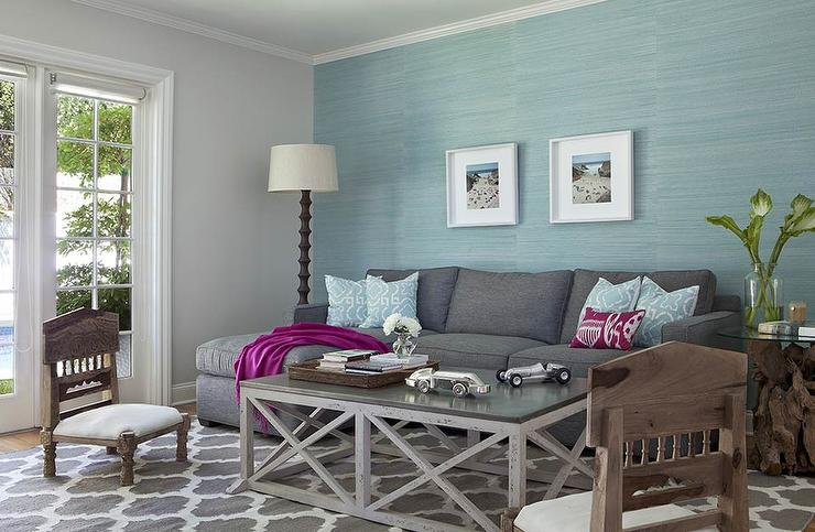 Aqua Blue and Charcoal Gray Living Room Design - Transitional ...