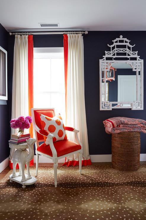 Black And Orange Bedroom With Corner Reading Nook Contemporary Bedroom